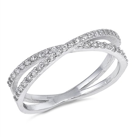 Criss Cross Clear CZ Infinity Knot Ring New .925 Sterling Silver Band Size 4