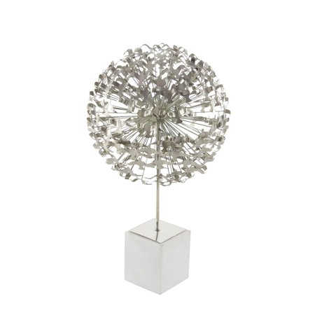 Decmode Contemporary 25 inch silver iron seagull ball sculpture with white marble base, Silver