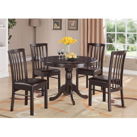 HART3-WAL-LC 3 -Piece Hartland Table 42 in. Round Table and 2 Faux Leather Upholstered seat Chairs - Black Cappuccino Finish 2 Piece Upholstered Seat