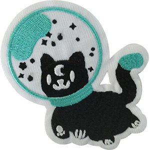 Out Embroidered Patch - Space Spaced Out Kitty - Sew Iron on, Embroidered Original Artwork - Patch - 3.67