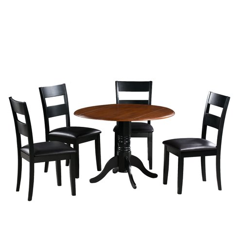 August Grove Adne 5 Piece Drop Leaf Solid Wood Dining Set