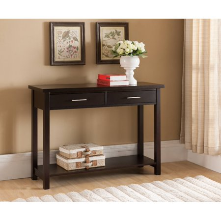 Espresso Wood Contemporary Occasional Entryway Console Sofa Table With Storage Drawers & Shelf (Sofa Table Espresso)