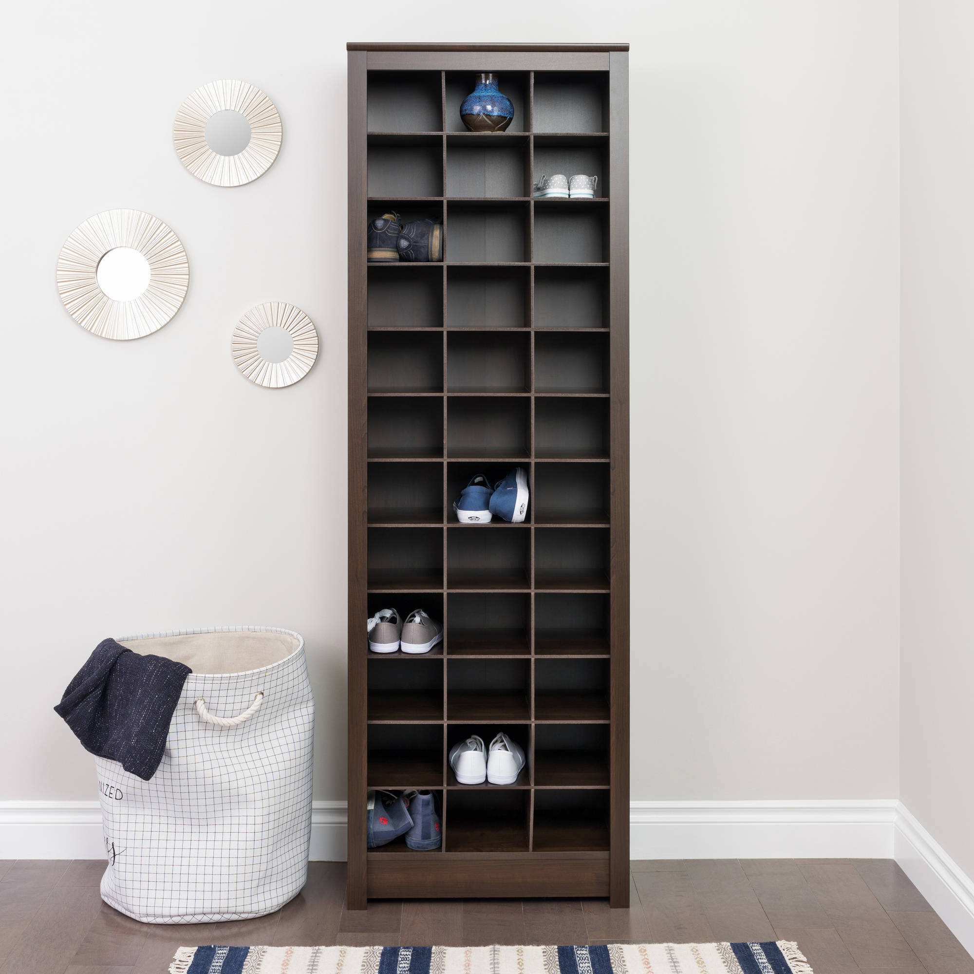 Space-Saving Shoe Storage Cabinet, Multiple Colors ...