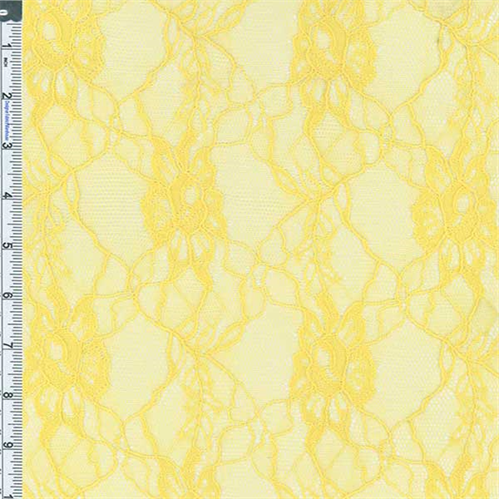 Yellow Floral Lace Knit, Fabric By the Yard