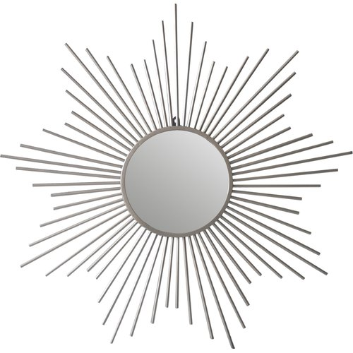 Cheungs Sunburst Silver Metal Accent Wall Mirror by Cheung's