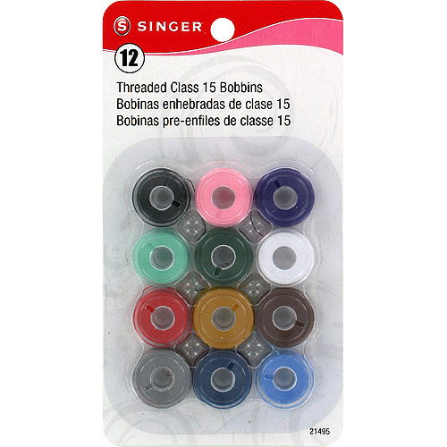 Singer Transparent Plastic Threaded Class 15 Bobbins, 12-Pack