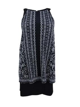 e89fac67a6df Product Image Jessica Howard Women's Petite Printed Popover Dress (6P,  Black/Ivory)