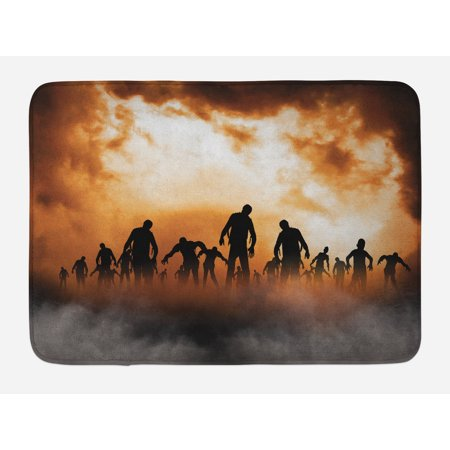 Halloween Bath Mat, Zombies Dead Men Walking Body in the Doom Mist at Night Sky Haunted Theme Print, Non-Slip Plush Mat Bathroom Kitchen Laundry Room Decor, 29.5 X 17.5 Inches, Orange Black, Ambesonne