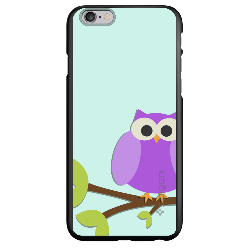 "CUSTOM Black Spigen Thin Fit Case for Apple iPhone 6 PLUS / 6S PLUS (5.5"" Screen) - Purple Owl Cartoon"