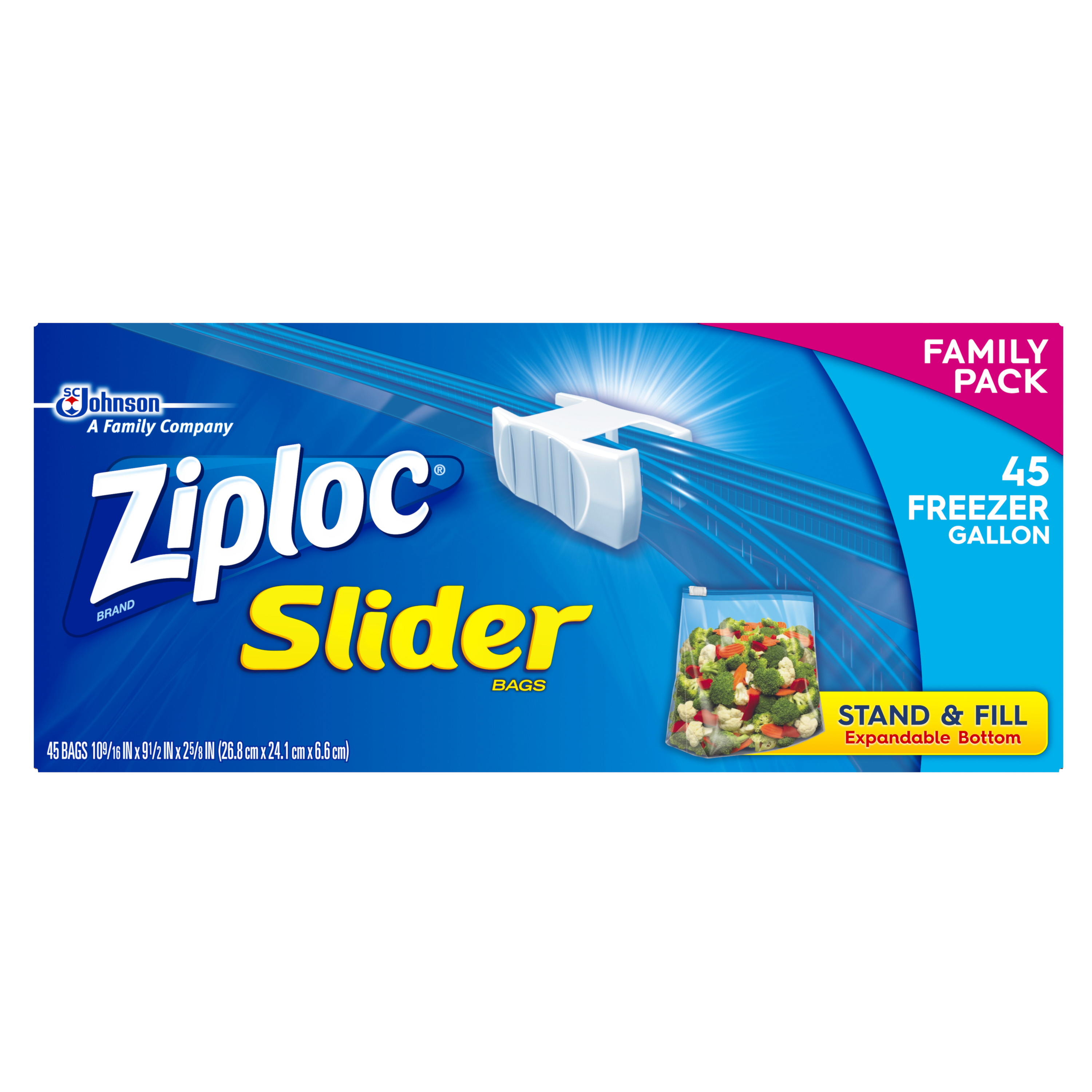 Ziploc Slider Freezer Bags, Gallon, 45 Ct