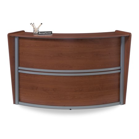 OFM Marque Series Model 55290 Single Unit Reception Desk Station, Cherry with Silver Frame