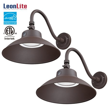 LEONLITE 42W LED Gooseneck Barn Light, Photocell Included, Swivel Head Outdoor Light Fixture, 150W Equivalent, 3000K Warm White, Brown, Pack of 2