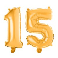 Non-Floating 15 Number Balloons 15th Birthday Party Quinceanera Decorations Small 13 Inch (Silver)