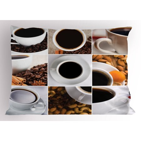 Kitchen Pillow Sham Coffee Mugs Collage with Almonds Cashews Beans Cinnamon Modern Composition, Decorative Standard Size Printed Pillowcase, 26 X 20 Inches, White Black Brown, by - Modern Almond