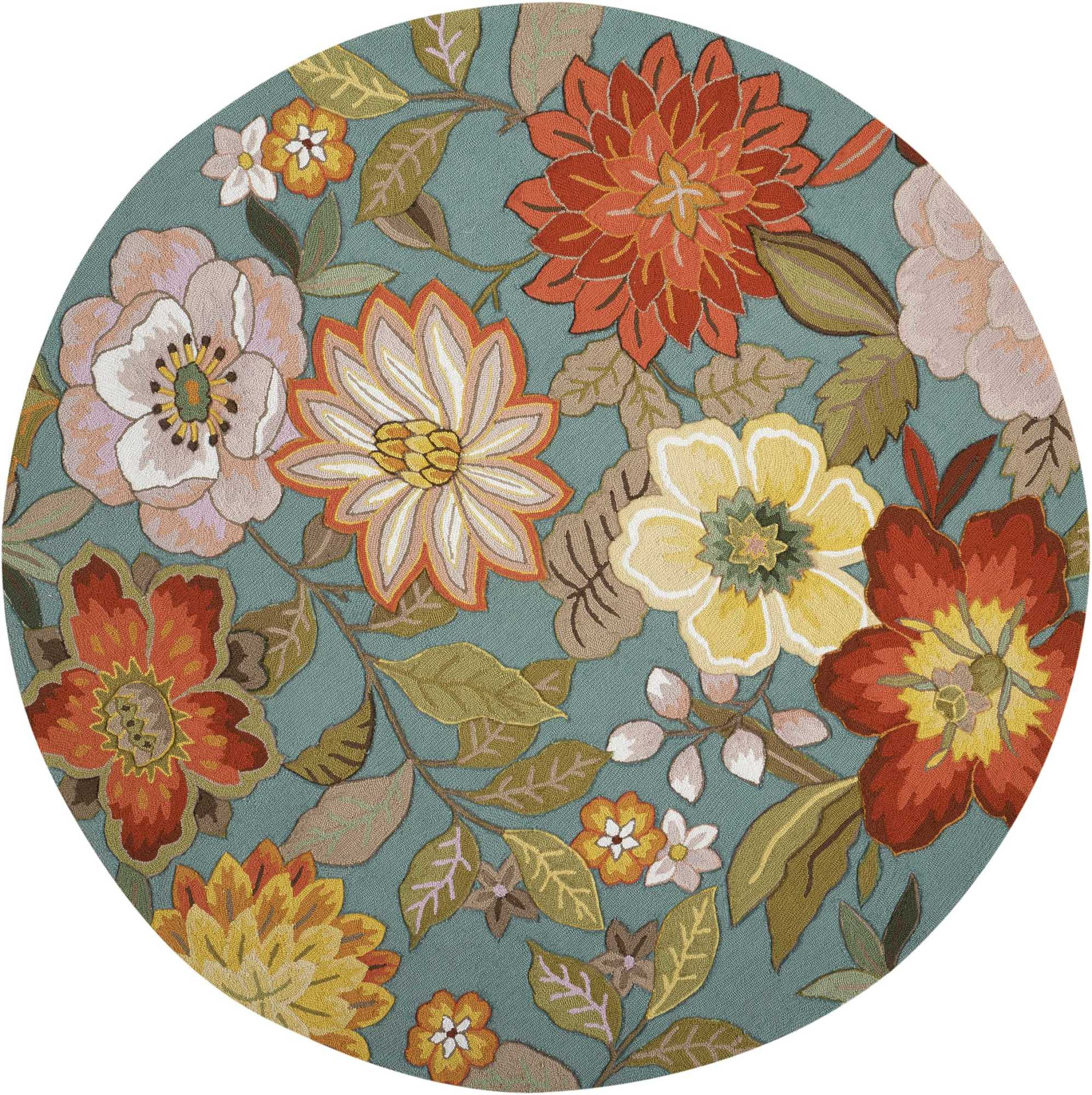 Nourison FA18-R-8X8 Fantasy 8' Round Synthetic Hand Tufted Floral Area Rug