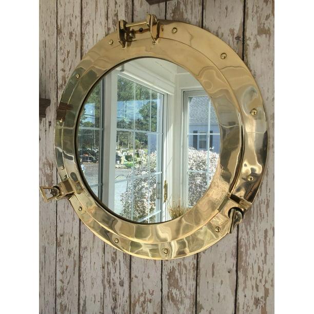 "20"" Brass Porthole Mirror ~Nautical Wall Decor ~ Large Working Ship Cabin Window - Walmart.com ..."