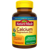 Nature Made Calcium, Magnesium Oxide, Zinc with Vitamin D3 Tablets, 100 Count for Bone Health