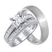 his hers matching cz wedding ring set for him and her58 - Wedding Rings Sets For Him And Her