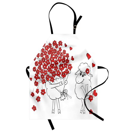 Valentine Apron Lover Goats Bunch of Heart Bouquet Valentines Honeymoon Wedding Caricature Graphic, Unisex Kitchen Bib Apron with Adjustable Neck for Cooking Baking Gardening, Red White, by Ambesonne