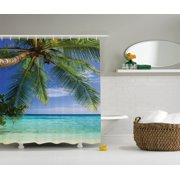 Ocean Decor  Tropical Paradise At Maldives With Palms And Sky, Bathroom Accessories, 69W X 84L Inches Extra Long, By Ambesonne