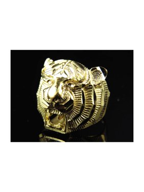 17405175de34b7 Product Image 10K Yellow Gold Diamond Cut Tiger Head Fashion Pinky Ring 19MM