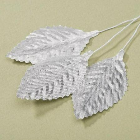 "Pack of 12 Victoria Lynn Metallic Silver Rose Leaf Wedding Floral Accessories 2.5"""
