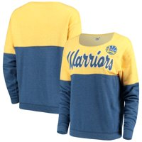 Golden State Warriors New Era Women's Fleece Tri-Blend Scoop Neck Pullover Sweatshirt - Royal/Gold