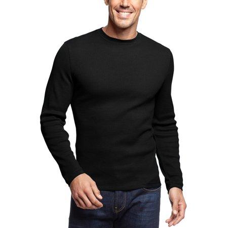 John ashford mens long sleeve crewneck thermal t shirt tee for Mens black thermal t shirts