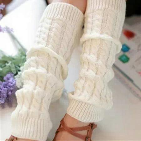 Fancyleo Winter Fashion Leg Warmers Stocking Knit Thick Long Socks Knee Brace Pads Knee Warmers Sleeve For  Ladies Knit Crochet Legging Best