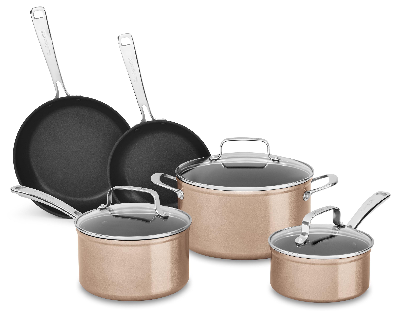 Kitchenaid Hard Anodized Non-Stick 8-Piece Cookware Set, Toffee Delight  (Kc3H1S08Tz)