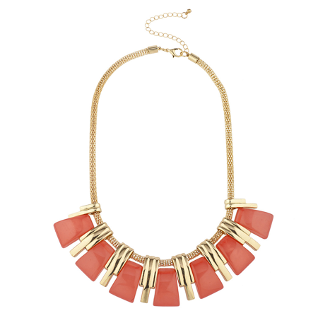 Lux Accessories Goldtone and Orange Stick Fashion Jewelry Statement Necklace