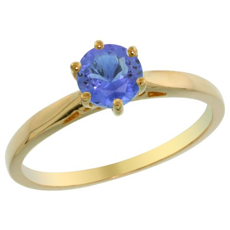14K Yellow Gold Natural Tanzanite Solitaire Ring Round 5Mm  Sizes 5   10