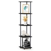 Furinno Turn-N-Tube 4-Tier Corner Display Rack Multipurpose Shelving Unit, Dark Brown Grain/Black