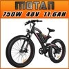 Addmotor MOTAN Fat Tire Electric Bike 750W 26 inch E-bike For Adults Black M850 P7 Mountain Bicycle New Design Upgrade