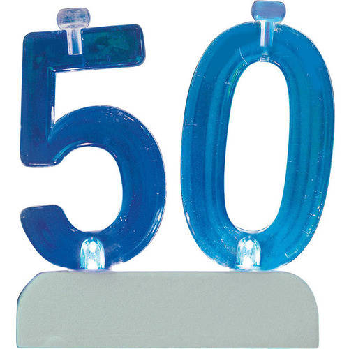 Blinking Number 50 Candle Holder and Birthday Candle Set, 5 Pieces