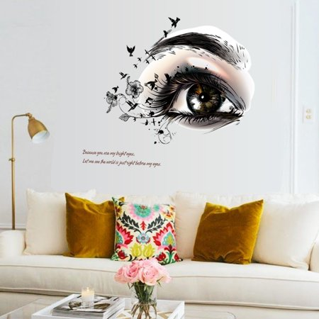 DIY Beautiful Eyes TV Background Wall Decoration Removable Wall Stickers