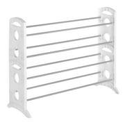 "Whitmor Freestanding 4-Tier Shoe Rack Stand - 20 Pair - White - 12"" x 35.5"" x 26.5"""