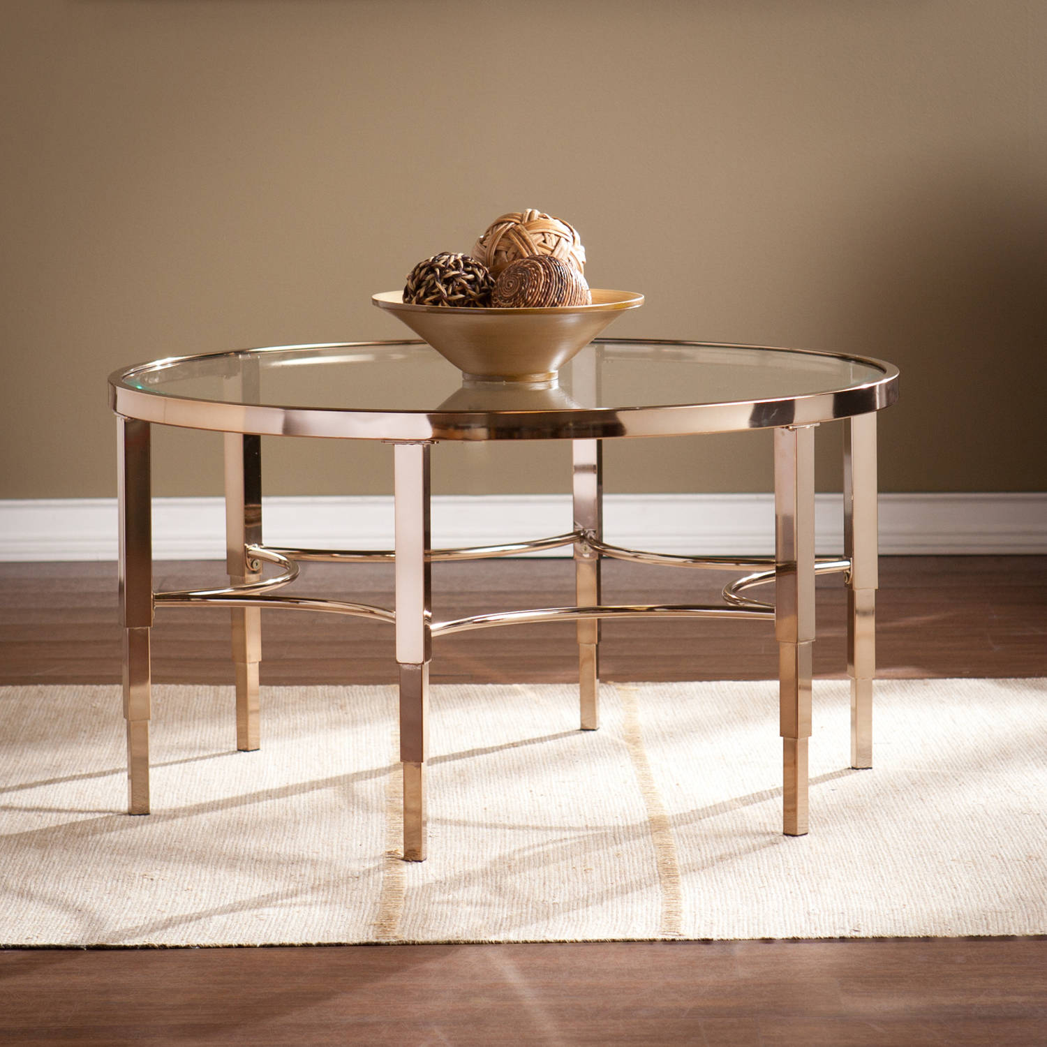 Southern Enterprises Sicily Art Deco Cocktail Table, Metallic Gold