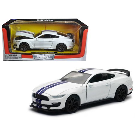 - Ford Mustang Shelby GT350R White with Blue Stripes 1/24 Diecast Model Car by New Ray
