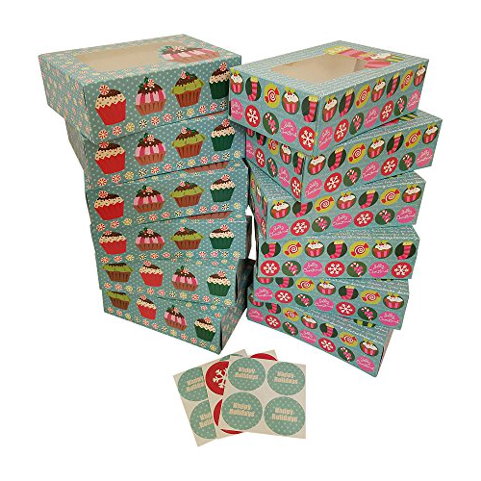 Christmas Cookie Gift Boxes Rectangular With Clear Window Colorful Paperboard With Holiday Designs Set Of 12 With 12 Stickers For Sealing Blue Cupcake Walmart Canada