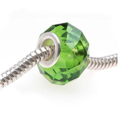 Faceted Glass European Style Large Hole Bead - Emerald Green 14mm (1) - Faceted Emerald Green