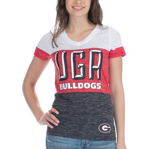 NCAA Georgia Bulldogs Women's Short Sleeve V Neck Tee
