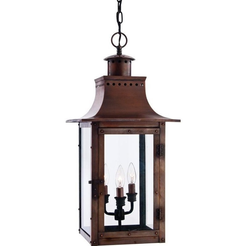 Atlin Designs Large Hanging Lantern in Aged Copper