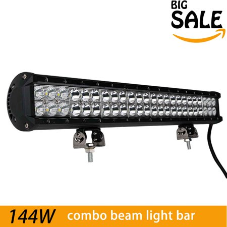 - 144W 22 Inch LED Work Bar Lights - 9600LM - Spot/flood Combo Beam Driving Jeep Off Road Lamps Bar, 2 Years Warranty