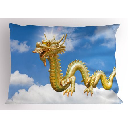 Dragon Pillow Sham Traditional Chinese Dragon Hovering at Cloud Sky  Cultural Symbolism Print, Decorative Standard Queen Size Printed  Pillowcase, 30 X