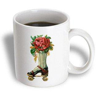 Red Glaze Ceramic - 3dRose Vintage Victorian Steampunk Roller Skate Boot with Red Rose Bouquet, Ceramic Mug, 11-ounce