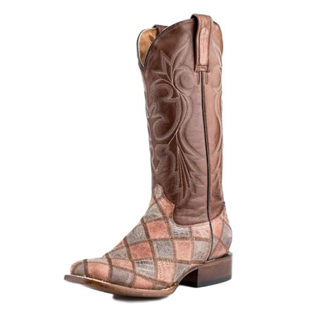 Roper Western Boots Womens Exotic Brown Teju 09-021-7021-0417 BR