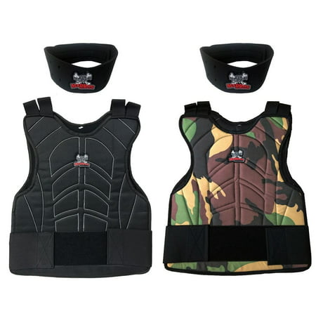 Maddog® Sports Padded Chest Protector w/ Neck Protector Safety Combo~Reversible Woodland Camo / Black