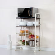 "4 Tier Organizers and Storage Shelf with Wheels, 17.5"" x 10"" x 41""Storage Tower Rack Cupboard with 3 Mesh Wire Basket and 2 Shelving Unit, Utility Microwave Oven Stand Storage Shelf Cart, S13813"