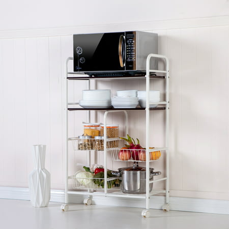 4 Tier Kitchen Utility Storage Carts With Wheels 17 5 Quot X